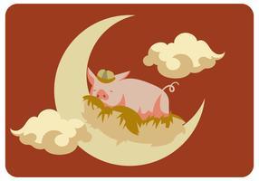 Cochon dormant dans la lune
