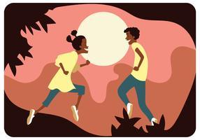 Deux adolescents afro-américains heureux vecteur