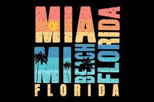 tee shirt typographie miami beach style floride rétro vecteur