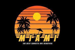 t-shirt silhouette plage miami coucher de soleil belle vecteur