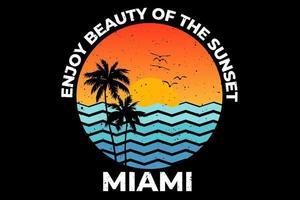 tee shirt coucher de soleil retro miami beach vecteur