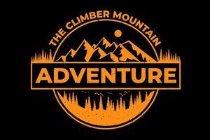 tee shirt aventure montagne pin alpiniste vintage vecteur