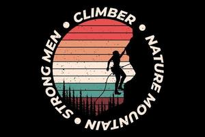 tee shirt grimpeur nature montagne style rétro vecteur
