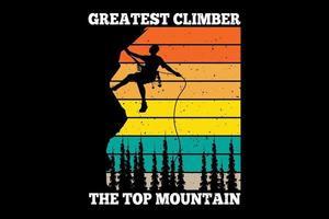 tee shirt silhouette grimpeur montagne pin style rétro vintage vecteur