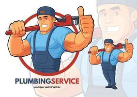 conception de personnage de plombier avec de gros bras forts vecteur