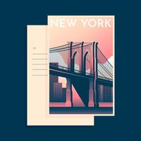 Modèle de Carte postale de pont de brooklyn à new york vecteur
