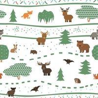 modèle sans couture d'animaux mignons de la forêt enfantine. loup renard ours cerf biche wapiti écureuil lièvre chauve-souris tortue hérisson. illustration vectorielle sur fond blanc vecteur