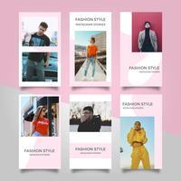 Vecteur d'histoires Instagram de mode rose moderne plat