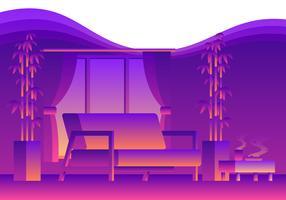 Salle de séjour confortable au néon vecteur