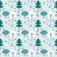 Motif de vecteur de forêt d'hiver scandinave