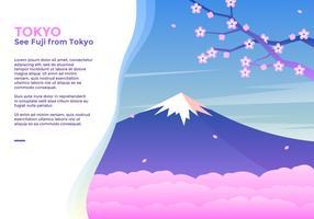 Voir Fuji De Tokyo Vecteur
