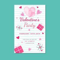 Modèle d'Affiche de Valentine mignon avec feuille et coeurs