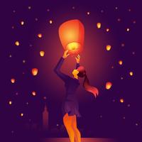 Femme flottant lanterne de ciel de Taiwan vecteur