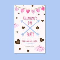 Flyer mignon de Valentine avec du chocolat, des coeurs, des flèches et des cadeaux.