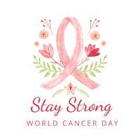 Journée mondiale du cancer avec feuilles, fleurs et citation