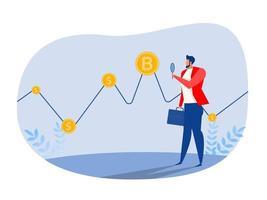homme d'affaires investisseur regarder pour financer bitcoin graphique données boursier commerçants concept illustration vectorielle. vecteur