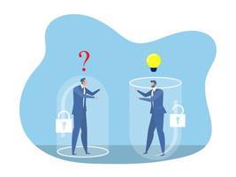 deux hommes d'affaires pensant différemment entre l'état d'esprit fixe et le concept de réussite de l'état d'esprit de croissance vecteur