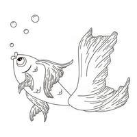 illustration de gravure de poisson d'or de dessin au trait vecteur