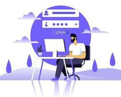 concept de vecteur d'illustration d'inscription en ligne