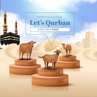 promotion du sacrifice d'animaux pour la fête islamique de l'aïd al adha moubarak avec illustration de chèvre, de vache et de chameau vecteur
