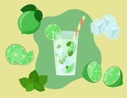 mojito en verre isolé. tranches de citron vert en coupe. ingrédients de boisson fraîche d'été. illustration vectorielle vecteur