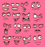 visages drôles de bande dessinée vecteur