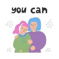 concept lgbt, relations et sentiments, couple lesbien. filles étreignant l'illustration dessinée à la main à plat. émotions positives, héros de notre temps. heureuses femmes amoureuses souriantes isolées sur fond blanc. conception de bannière d'amitié avec typographie. vecteur