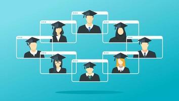 écran d'affichage virtuel de remise des diplômes en ligne vecteur