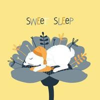 un lapin mignon dort dans un bonnet de nuit à l'intérieur d'une fleur vecteur