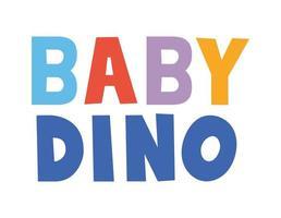 lettrage baby dino avec différentes couleurs vecteur