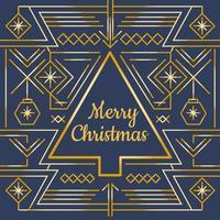Gold Merry Christmas Card Vector
