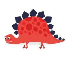 illustration pour enfants d'un dinosaure rouge vecteur