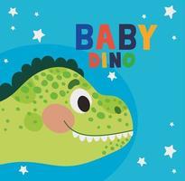lettrage bébé dino et une illustration pour enfants d'un dinosaure vert vecteur