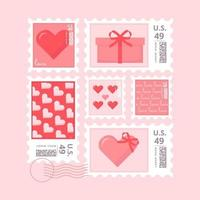 Vector Valentine's Day Stamps