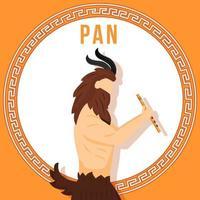 maquette de publication de médias sociaux pan orange. dieu grec ancien. personnage mythologique. modèle de conception de bannière Web. booster de médias sociaux, mise en page du contenu. affiche, carte imprimable avec illustrations plates vecteur