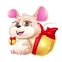 personnage de vecteur de dessin animé mignon souris kawaii. symbole du zodiaque du nouvel an chinois de 2020. animal adorable et drôle assis avec des coffrets cadeaux autocollant isolé, patch. Anime bébé rat emoji sur fond blanc