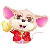 personnage de vecteur de dessin animé mignon souris kawaii assis. animal adorable et drôle en costume rouge national et morceau d'autocollant isolé en or, patch. nouvel An chinois. Anime bébé rat emoji sur fond blanc