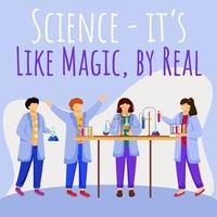 la science est comme de la magie mais une vraie maquette de publication sur les réseaux sociaux. les enfants et les expériences de chimie. modèle de conception de bannière web publicitaire. booster de médias sociaux. affiche de promotion avec des illustrations à plat vecteur