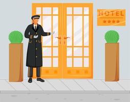 portier en illustration vectorielle plane uniforme. portier en chapeau et manteau debout près de l'entrée. conciergerie dans la rue accueillant les clients. service d'accueil. personnage de dessin animé du personnel de l'hôtel vecteur