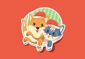 Cat and Dog Stickers vecteur