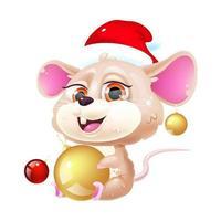 personnage de vecteur de dessin animé mignon souris kawaii. symbole de 2020. animal adorable et drôle en chapeau de père noël avec autocollant isolé de décorations de noël, patch. Anime bébé rat emoji sur fond blanc