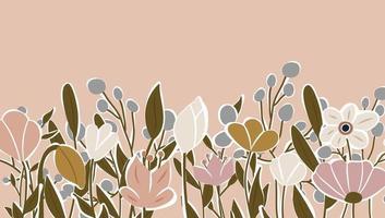 toile de fond horizontale décorée de fleurs épanouies et bordure de feuilles. vecteur de fond nature art abstrait. cadre de plantes à la mode. jardin de fleurs. conception de motifs floraux botaniques pour la bannière de vente d'été