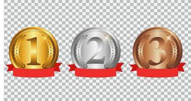 champion médaille d'or, d'argent et de bronze avec ruban rouge. signe d'icône de première, deuxième et troisième place isolé sur fond transparent. illustration vectorielle vecteur