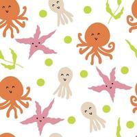 style dessin animé doodle motif d'été vectorielle continue de poulpes sous-marins et d'étoiles de mer vecteur