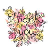 Thank you card. Hand drawn lettering design vecteur