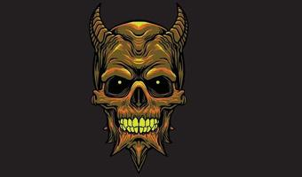 tête de crâne de diable vecteur