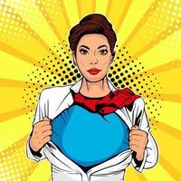 Pop art female superhero vecteur