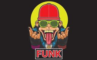 singe funk avec chapeau vecteur
