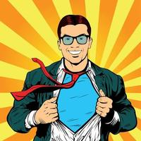 Male businessman superhero pop art retro vector illustration