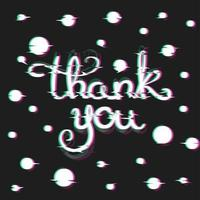 Thank You Card with Glitch Effect. vecteur